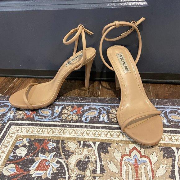 STEVE MADDEN nude heels size 7M- WORN ONCE